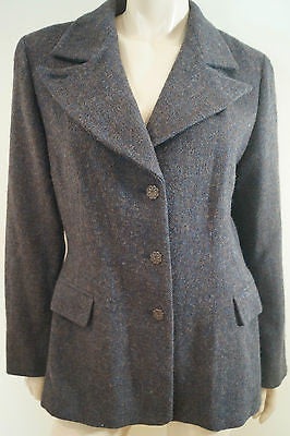 SPORTMAX Charcoal Blue Grey 100% Virgin Wool Formal Winter Blazer Jacket UK16