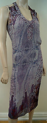 MARKUS LUPFER Lilac Pink Red 100% Silk Abstract Print Sleeveless Dress UK10