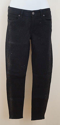 PAIGE THE VERDUGO ANKLE Black Gold Glitter Skinny Crop Jeans Pants Sz:26; IL27""