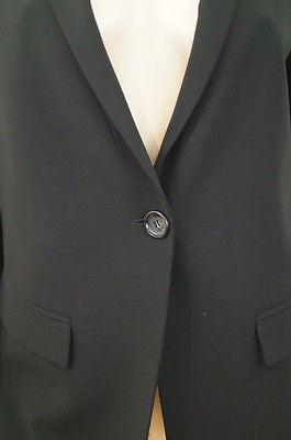 ARMANI COLLEZIONI Black Virgin Wool Stretch Formal Blazer Jacket IT44 UK12
