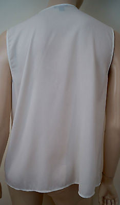 ANN TAYLOR Off White Cream Sleeveless Round Neck Ruffle Front Evening Top Sz:14