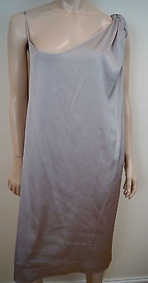 ACNE Pale Grey Braided Plait Shoulder Strap Low Back Mini Evening Dress Sz:M