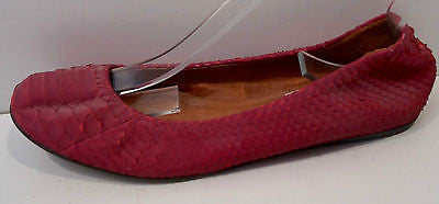 LANVIN Red Leather Textured Python Flat Slip On Ballerina Pump Shoes EU39 UK6