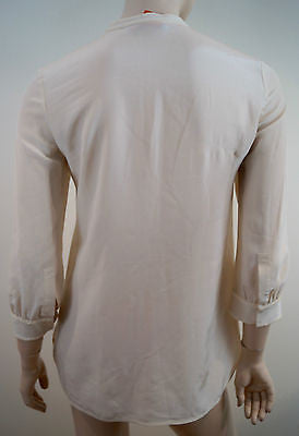 TORY BURCH Cream 100% Silk Sequin Detail Round Neck 3/4 Sleeve Blouse Top 2 UK6