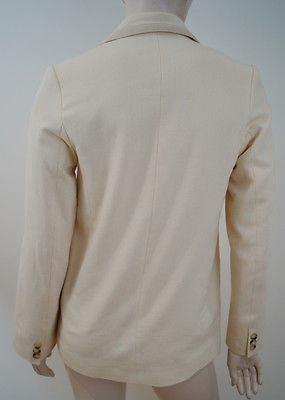 TOAST Women's Cream Beige 100% Cotton Ribbed Lined Formal Blazer Jacket UK8