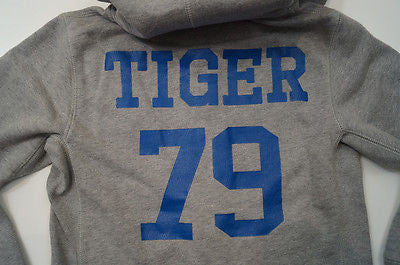 SCOTCH SHRUNK Boys Pale Grey Tiger 79 Motif Hoodie Sweatshirt Sweater Top BNWT