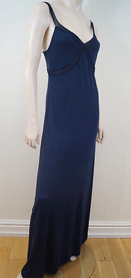 E Dssigner Navy 100% Tencel V Neck Adjustable Strap Long Length Maxi Dress Sz:M