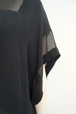 DIANE VON FURSTENBERG Black Semi Sheer Layered Silk Chiffon Dress US8; UK12