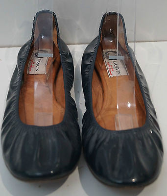 LANVIN Black Leather Patent Elastic Opening Flat Ballerina Pump Shoes EU39 UK6