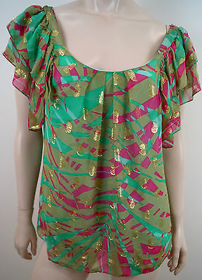 MILLY OF NEW YORK Green Pink & Gold Round Neck Pleated Short Sleeve Blouse Top