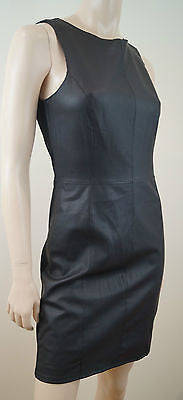 VELVET Graham & Spencer Black Faux Leather & Fabric Panelled Evening Dress BNWT