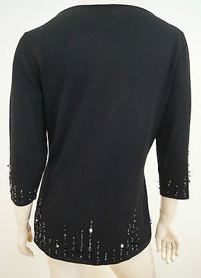 TSE Black Silk & Cashmere Sequin Detail Scoop Neck Jumper Sweater Top Sz:XL