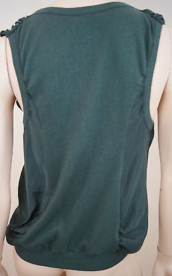 VANESSA BRUNO Emerald Green Plunge V Neck Ruched Sleeveless Evening Top Sz3; M