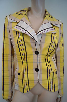 RENE LEZARD Yellow Cream Brown Check Collared Long Sleeve Blazer Jacket UK10/12