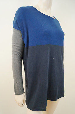 VINCE Blue & Grey Cotton Knit Block Colour Long Sleeve Jumper Sweater Top Sz: S