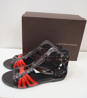 BOTTEGA VENETA Burgundy Brown & Red Flat Gladiator Sandals Shoes EU40 UK7- NEW!
