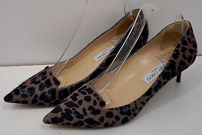 24bc65b97bf ... JIMMY CHOO Taupe Brown   Black Leopard Print Hair   Leather Court Pump  Shoes ...