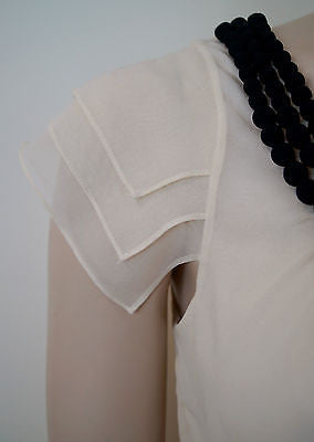 TED BAKER Cream & Black 100% Silk Sleeveless Pleated Evening Top Sz0; UK6 BNWT
