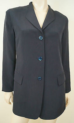 DONNA KARAN NEW YORK Black 100% Silk Formal Evening Blazer Jacket UK12 IT42