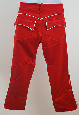 ISABEL MARANT Bauer Red Velvet Cropped Skinny Trousers Pants Sz:42; UK14 BNWT