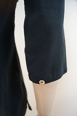 TRUSSARDI JEANS Ladies Black Pleated Detail Silver Button Stretch Blouse Sz: S