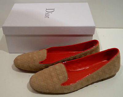 CHRISTIAN DIOR Beige Brown Suede Quilted Red Trim Flat Loafers Shoes EU40 UK7