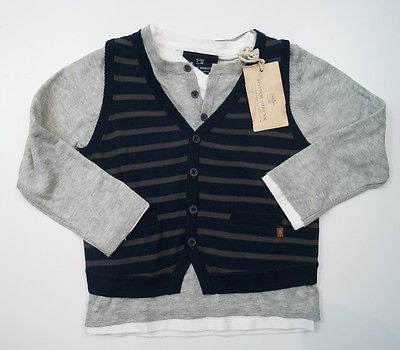 SCOTCH SHRUNK Grey Long Sleeve Knitted Jumper, Striped Waistcoat & Tee Top BNWT