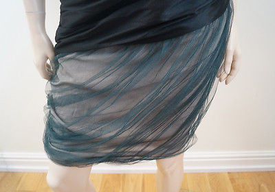 VERA WANG Black Cream & Green Net Skirt Evening Cocktail Dress EU40; UK12