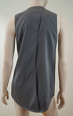 T BY ALEXANDER WANG Ladies Grey Stretch Silk Lined V Neck Sleeveless Top Sz: M