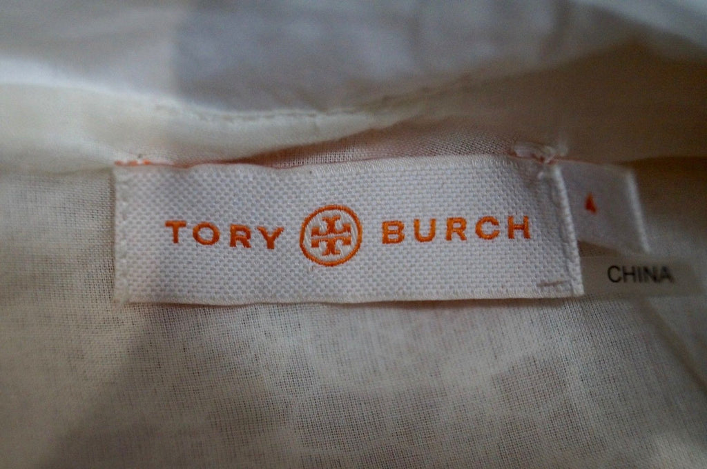 TORY BURCH Cream Embroidery Detail White Collared Short Sleeve Blouse Top 4 UK8