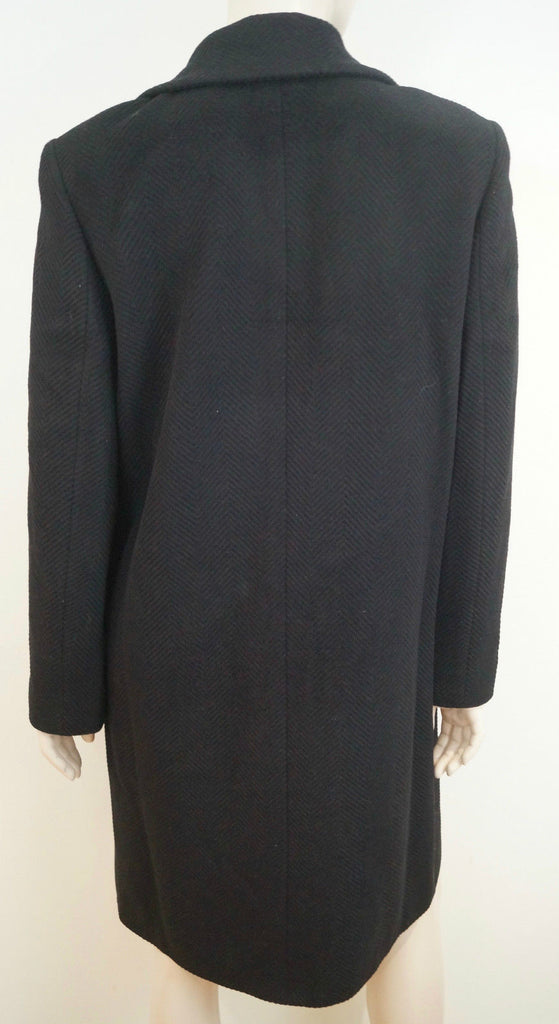 LAUREL Women's Black New Wool & Angora Collared Lined Winter Coat Sz: 36; UK10