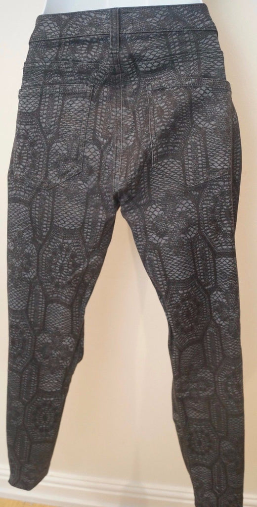CURRENT ELLIOTT Charcoal Black THE ANKLE SKINNY CROCHET Jeans Trousers Pants 27