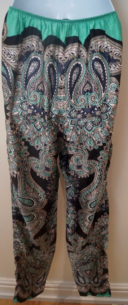 LANVIN ETE 2014 Black Green & Grey Silk Paisley Tapered Trousers Pants FR40 UK12