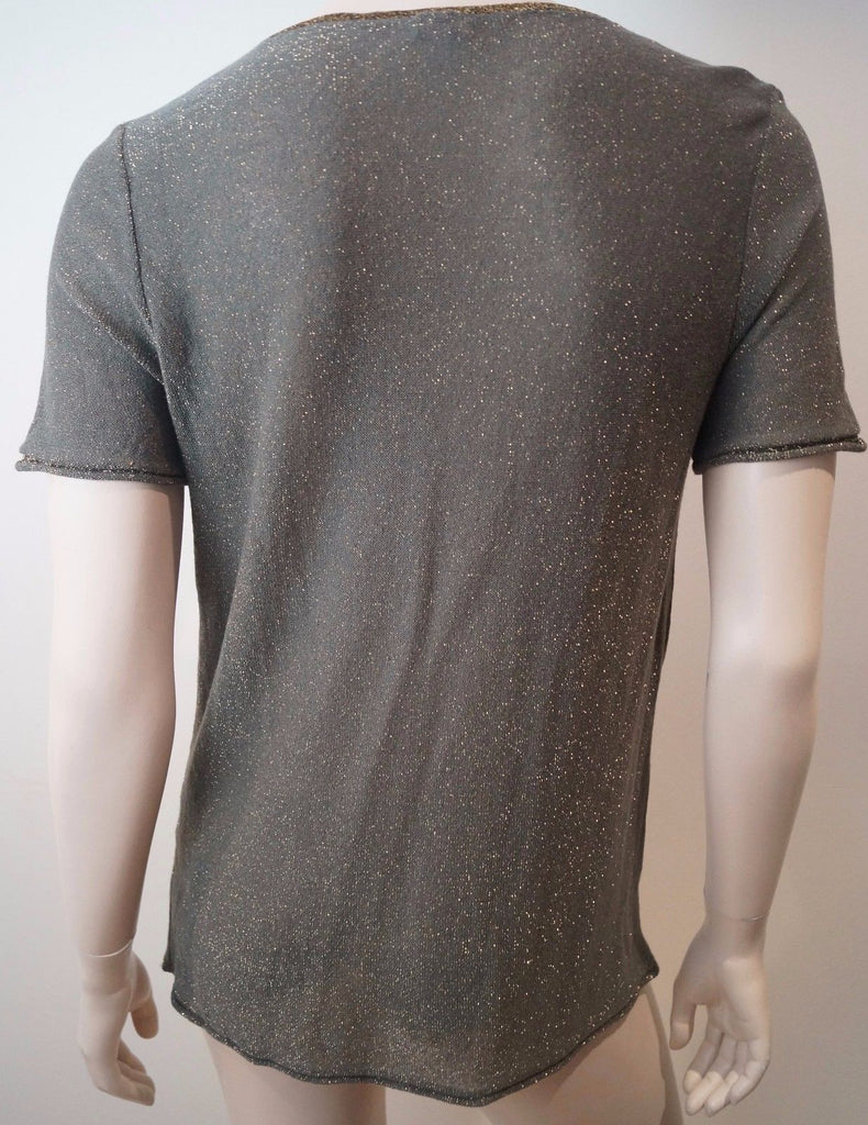 KENZO Brown Grey & Gold Metallic Thread Draped Neck Short Sleeve Top Sz: L