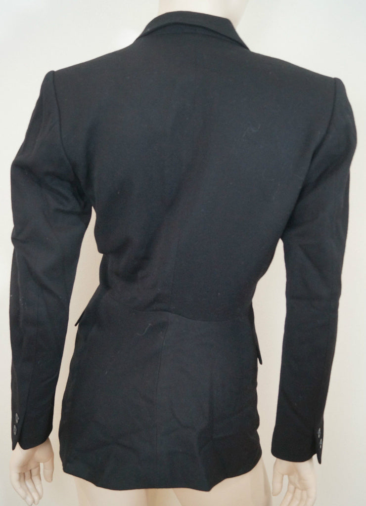 KENZO PARIS Black 100% Wool Double Breasted Formal Lined Blazer Jacket FR36; UK6