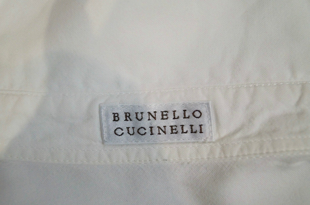 BRUNELLO CUCINELLI White 100% Cotton Collared Long Sleeve Blouse Shirt Top Sz:S