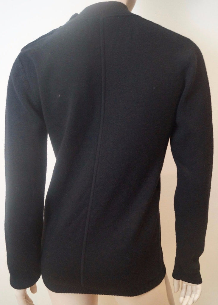 SANDRO Black 100% Wool Button Fastened Polo Neck Long Sleeve Jumper Sweater S