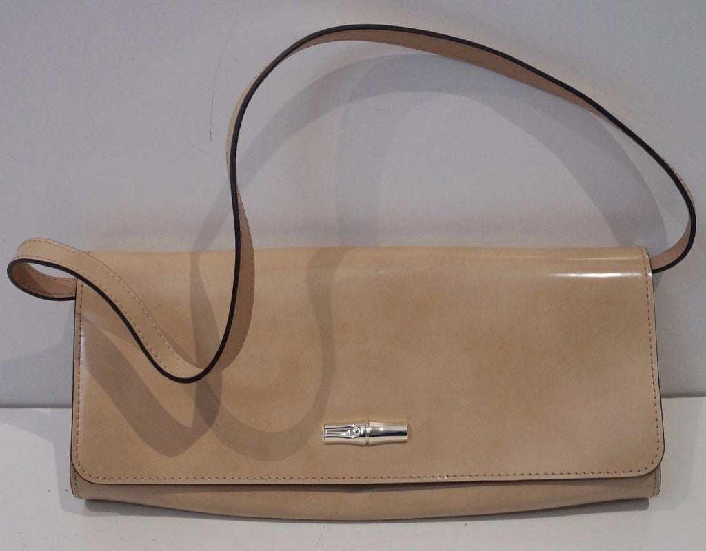 LONGCHAMP Beige Leather Sheen Silver Tone Detachable Shoulder Strap Clutch Bag