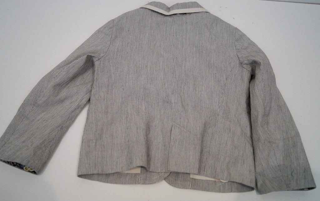 BONPOINT Baby Toddler Grey & Cream Cotton Linen Striped Formal Blazer Jacket 3Y