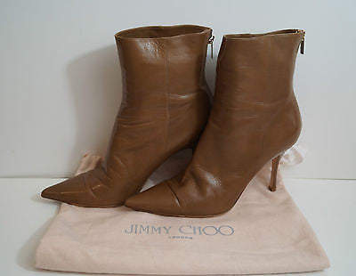 JIMMY CHOO Brown Pointed Toe Stiletto Heel Gold Tone Ankle Boots EU40.5 UK7.5