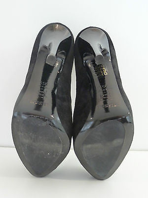 MISSONI Black Suede & Leather Patent Detail Very High Heel Platform Court Shoes