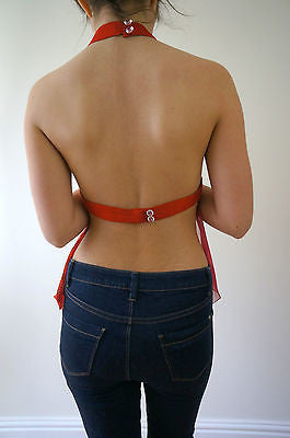 BORHAM BASMA UK Designer Red Silk Fitted Halter Neck Backless Party Top XS