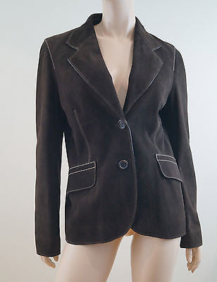 PRADA Fabulous Chocolate Brown Suede Cream Stitch Detail Blazer Jacket IT44 UK12