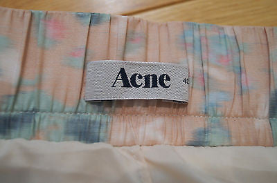 ACNE Designer Multi-Colour Floral Print Pleated Lined Short Skirt FR40; UK12