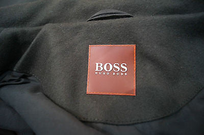 HUGO BOSS Men's Khaki Green Virgin Wool Blend Formal Winter Coat