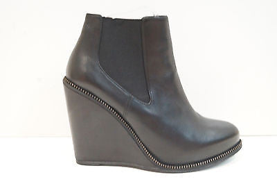 OPENING CEREMONY Black Leather Brass Zip Detail Wedge Ankle Boots EU40 UK7