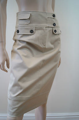 TRUSSARDI Made In Italy Beige Fitted Branded Wide Waist Pencil Skirt UK14; IT42