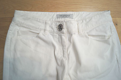 YVES SAINT LAURENT White Cotton Blend Bootcut Trousers / Pants Jeans FR40; UK12