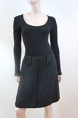 TARA JARMON Designer Black Long Sleeve A-Line Skirt Winter Dress EU40; UK12