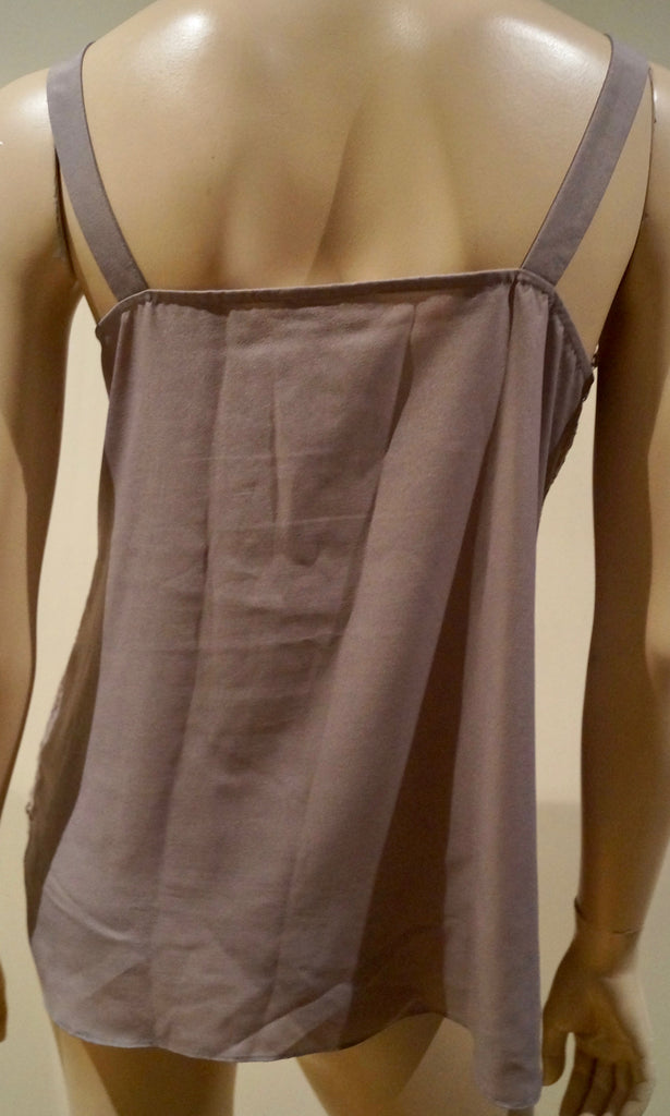 DAY BIRGER ET MIKKELSEN Taupe Grey Floral Lace Front Sleeveless Cami Top 38 UK10